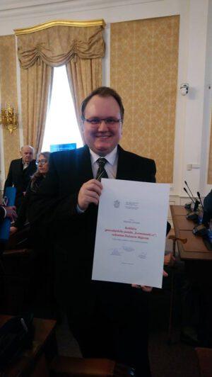 Dušan Majer s Čestným uznáním od Podvýboru pro letectví a kosmický program