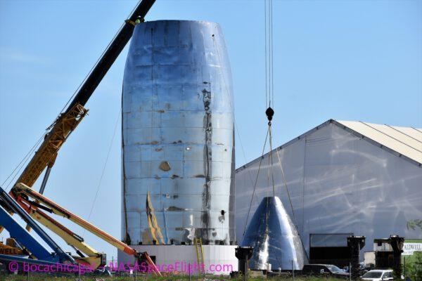 Aktuální stav horní části orbitálního prototypu lodi Starship na Boca Chica