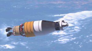 Umělecká představa pilotované kosmické lodě Orion shorním stupněm EUS
