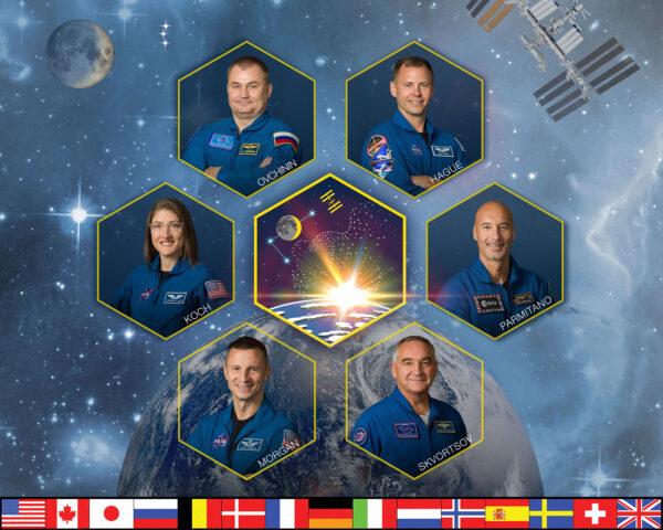 Plakát na motivy 60. dlouhodobé expedice na ISS.