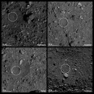 Čtyři vytipované lokality pro odběr vzorků z planetky Bennu.