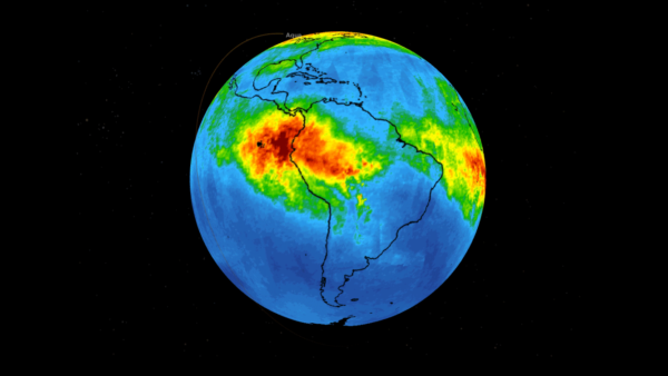 Koncentrace oxidu uhelnatého nad jižní Amerikou
