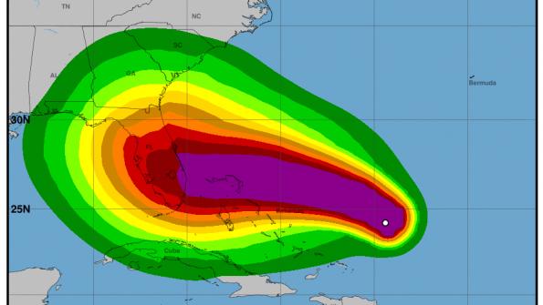 Předpoklad dalšího vývoje hurikánu Dorian