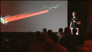 Vizualizace namáhání prvního stupně rakety Electron při vstupu do atmosféry.