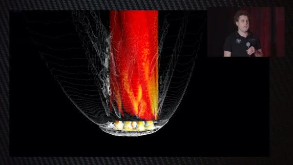 Detail simulace v okolí motorové sekce.