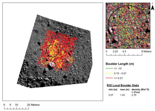 Počítání balvanů v lokalitě Sandpiper. Žlutě jsou vyznačeny objekty s velikostí 10 - 21 cm, červenou čárou pak cokoliv většího než 21 cm, přičemž čára spojuje dva body nejdelší osy objektu.