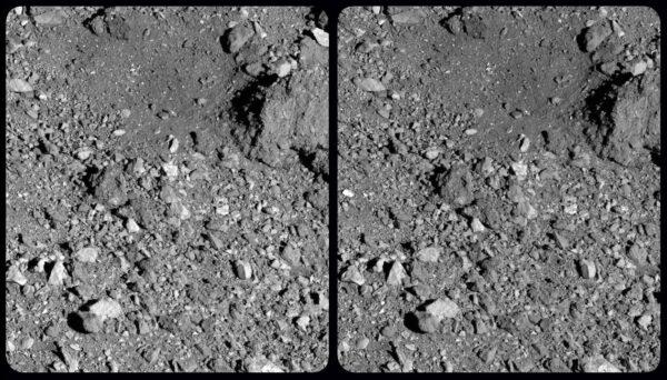 Stereosnímek lokality Nightingale vznikl z fotek pořízených 21. března 2019 kamerou PolyCam.