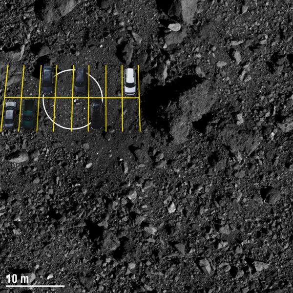 Pro lepší představu - Sonda OSIRIS-REx se dá svými rozměry přirovnat k dodávce. Lokalita Nightingale (v kroužku) by na Zemi pokrývala šest běžných parkovacích míst.