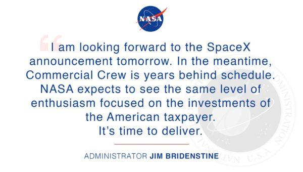 Prohlášení administrátora NASA