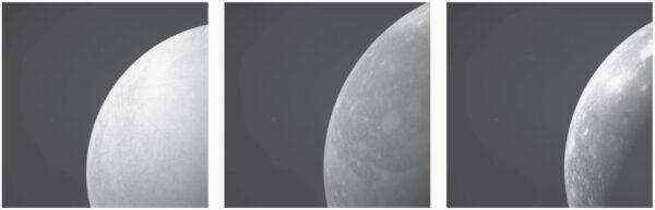 Takto by mohla kamera navCam na sondě JUICE vyfotit Europu (vlevo), Ganymed (uprostřed) a Callisto (vpravo).