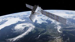 Aeolus, družice ESA, měří vítr v cykl=oně na Zemi. Zdroj: ESA/ATG medialab