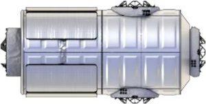 Starší umělecký koncept modulu HALO z prezentace NASA. Koncept byl použit u modelu Gateway v předchozím obrázku.