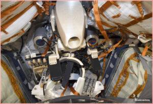 Robot Fedor v Sojuzu MS-14 před odletem od ISS.