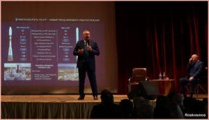 Dmitrij Rogozin při prezentaci podrobnějších informací o metanové raketě na Baltické technické univerzitě D. F. Ustinova v Petrohradu v září 2019.