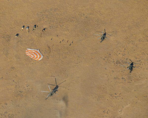 Místo přistání Sojuzu MS-12