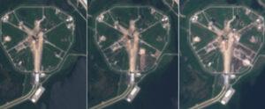 Snímky družice Sentinel 2 pořízené mezi zářím a říjnem 2019 ukazují rychlý postup prací.