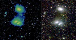 Dvě vzdálené skupiny galaxií vyfocené eROSITou a ve viditelném spektru