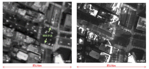 Oba snímky stejné tokijské křižovatky pořídila stejná kamera na družici Cubame. Ten vlevo vznikl ve výšce 381 km, ten vpravo pak jen 181 km vysoko. Rozdíl v detailech je vidět na první pohled.