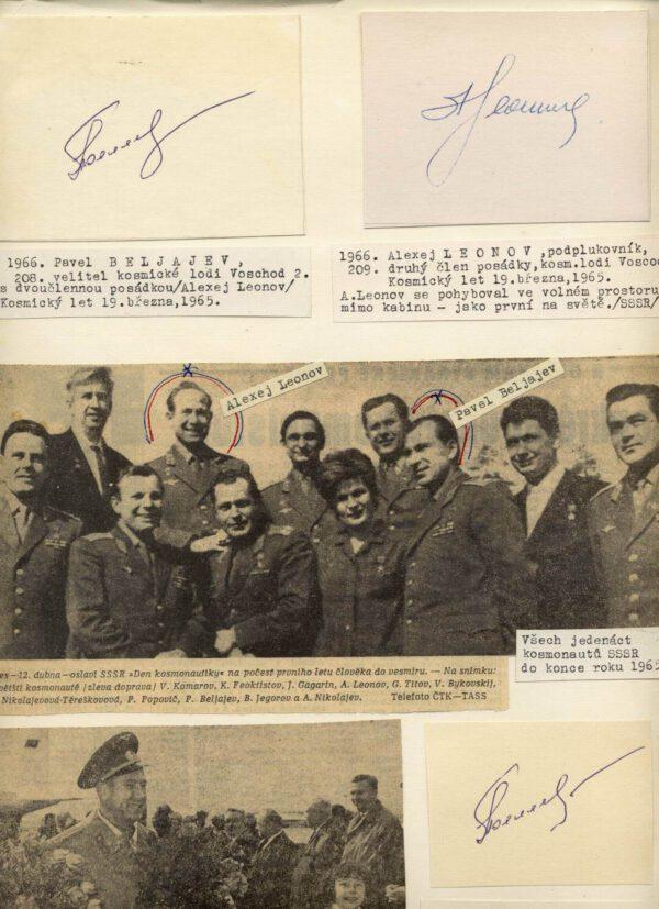Takový zvláštní předmět, který jsem kdysi získal z jedné historické sbírky: na tvrdém kartonu formátu A4 jsou vylepené dobové výstřižky z novin plus na stroji psané popisky – a k tomu všemu je přilepených několik kartiček s podpisy kosmonautů z Voschodu 2