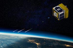 Vizualizace družice ALE-2 při uvolňování kuliček, které shoří v atmosféře.