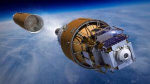 Vizualizace startu lunárního landeru od firmy Boeing na raketě SLS.