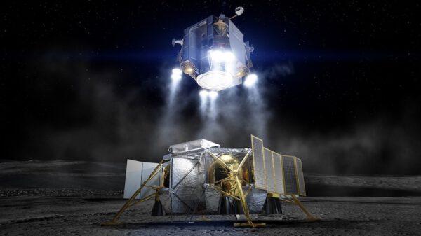 Vizualizace startu z Měsíce ukazuje spodní pohled na vzletový stupeň od Boeingu