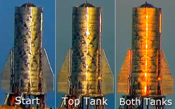 Série fotek ukazuje, jak tlakování nádrží vyrovnalo některé nerovnosti na povrchu pláště Starship Mk 1.