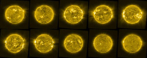 Na tomto složeném snímku vidíme jednu fotku od sondy Proba-2 z každého roku mezi lety 2010 a 2019, která vznikla v lednu či únoru. Názorně je vidět kolísání sluneční aktivity během jedenáctiletého cyklu.
