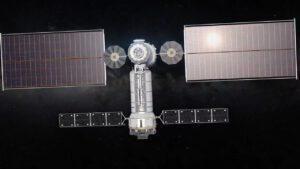 Návrh logistického modulu od Northrop Grumman. Nahoře modul HALO, v pozadí panely ROSA modulu PPE.