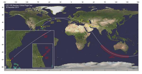 Marco Langbroek přidal mapu, která ukazuje, kde měl Starliner provést manévr OIB.