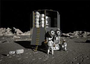 Umělecká představa landeru European Large Logistic Lander (EL3) s nákladem včetně nehermetizovaného roveru pro pilotovaný program
