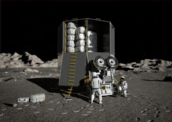 Umělecká představa landeru Heracles s nákladem včetně nehermetizovaného roveru pro pilotovaný program