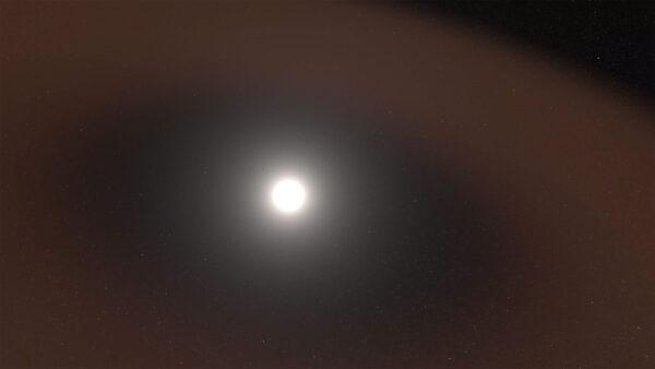 Počítačová vizualizace ubývajícího prachu směrem ke Slunci.