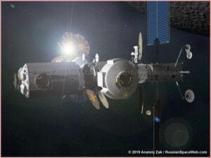 Vlevo mezinárodní modul I-HAB, uprostřed nová podoba evropského modulu ESPRIT (modul umístěný bočně na středový modul HALO)