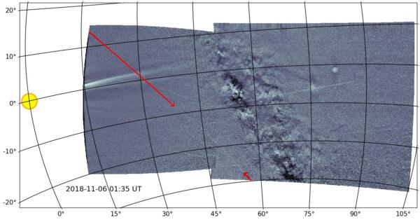 Přístroj WISPR na sondě PSP pořídil vůbec první snímek prachového pruhu planetky Phaethon, který každý rok způsobuje meteorický roj Geminidy.