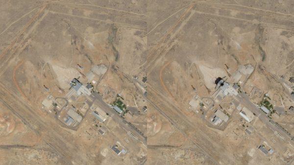 Snímek zachycuje rampu 31/6 těsně před startem a po startu rakety Sojuz 2.1a v roce 2018 s 48 snímkovacími Cubesaty řady Dove.a dalším nákladem.
