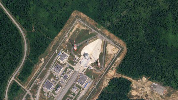 Nový kosmodrom Vostočnyj je stále ještě ve výstavbě. Snímek byl pořízen 2. srpna 2019 družicí z konstelace SkySat.