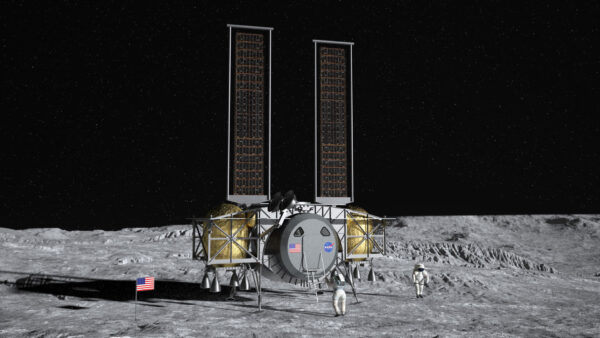Ilustrace konceptu pilotovaného landeru, který zveřejnila společnost Dynetics