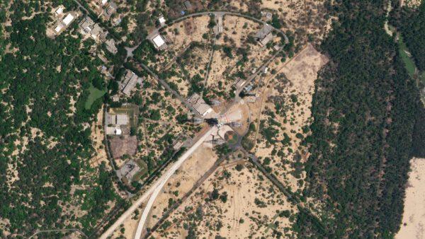 Odpalovací rampa číslo dvě (SLP) 19. srpna 2019, tak jak jí zachytila družice konstelace Skysat.