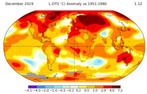 Globální mapa rozdílů naměřených průměrných teplot z roku 2019 v porovnání s údaji z let 1951 - 1980