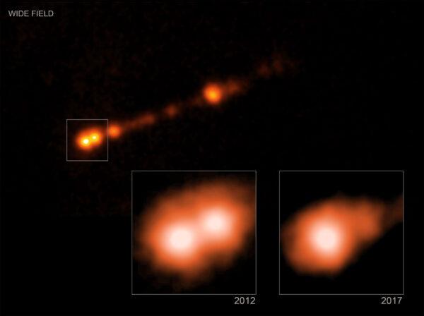 Snímky výtrysku z černé díry M87* pořízené teleskopem Chandra.