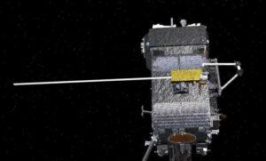Vizualizace nosníku, který na družici Restore-L vyrobí zařízení SPIDER.