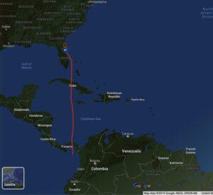 Plánovaná trajektorie Falconu 9 při misi s družicí SAOCOM 1B.