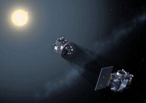 Umělecká představa mise Proba-3 -dvě družice budou vzdálené zhruba 144 metrů a jedna bude dělat druhé umělé zatmění Slunce.