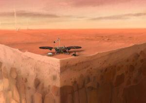 Na této kresbě vidíme InSight na povrchu Marsu se zobrazenými podpovrchovými vrstvami a prachovými víry v okolí. Zdroj: IPGP/Nicolas Sarter