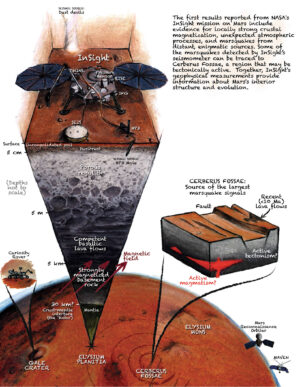Na krásné kresbě J. T. Keanea publikované v Nature Geoscience vidíme řez Marsem a InSight studující jeho seismické projevy. Zdroj: www.nasa.gov