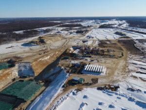 Stavba rampy pro rakety Angara na kosmodromu Vostočnyj - stav na začátku března 2020.