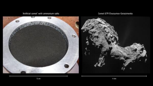 Umělý a skutečný povrch komety