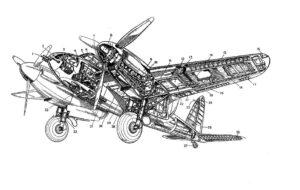 """Jan Kaplický se už jako mladý inspiroval technickou kresbou, kterou přenesl do své tvorby. Na obrázku je řez jeho oblíbeným strojem """"Dřevěný zázrak"""" De Havilland DH-98 Mosquito."""