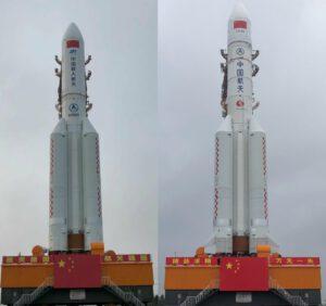 Porovnání dvou typů raket Dlouhý pochod- 5. Vlevo se nachází třída 5B, která má na první pohled větší kryt, ale postrádá horní stupeň. Vpravo je klasická verze.
